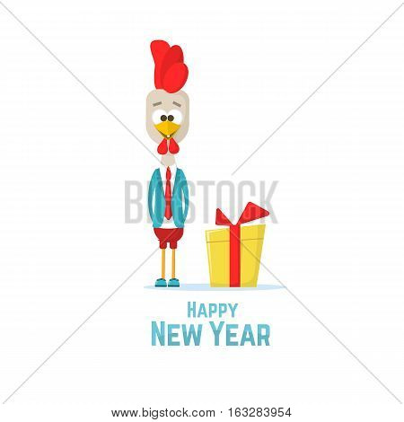 Cartoon Rooster In A Blue Jacket With  Gift. Symbol Of New 2017 - According To Chinese Calendar Year