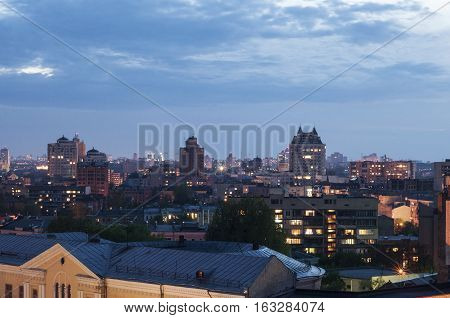 View to the center of Kiev in the evening on Spt 8 2014 in Kiev Ukraine. Highway in city at night with trails of car lights