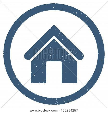 Home rubber seal stamp watermark. Icon vector symbol with grunge design and corrosion texture. Scratched blue ink sign on a white background.
