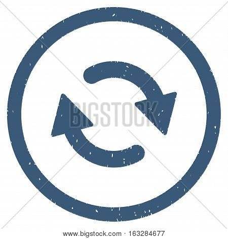Refresh Arrows rubber seal stamp watermark. Icon vector symbol with grunge design and dust texture. Scratched blue ink sticker on a white background.