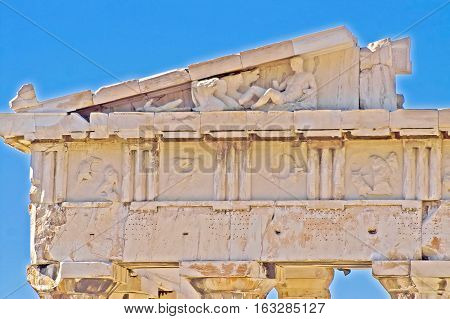 Part of Parthenon in Acropolis, Athens, Greece