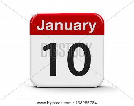 Calendar web button - The Tenth of January three-dimensional rendering 3D illustration
