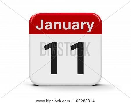 Calendar web button - The Eleventh of January - International Thank You Day three-dimensional rendering 3D illustration