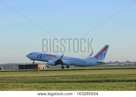 Amsterdam the Netherlands - November 25th 2016: EC-KCG Air Europa Boeing 737 taking off from Polderbaan Runway at Amsterdam Airport Schiphol