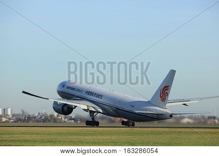 Amsterdam the Netherlands - November 25th 2016: B-2093 Air China Cargo Boeing 777 taking off from Polderbaan Runway at Amsterdam Airport Schiphol