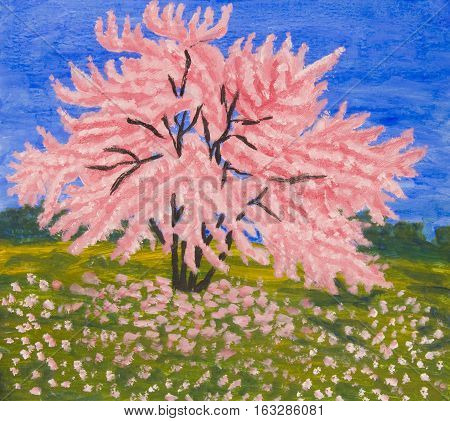 Landscape with Cercis tree in blossom, oil painting.