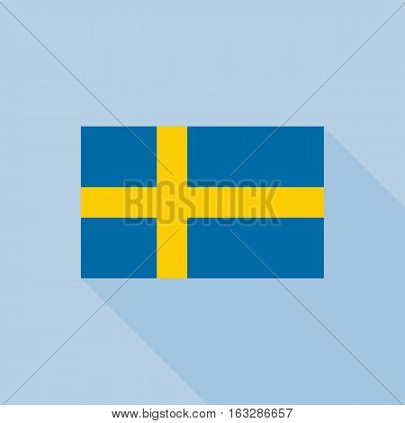 Sweden flag , flat design vector with official proportion
