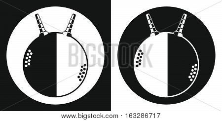 Fitball icon. Silhouette fitness ball on a black and white background. Sports Equipment. Vector Illustration