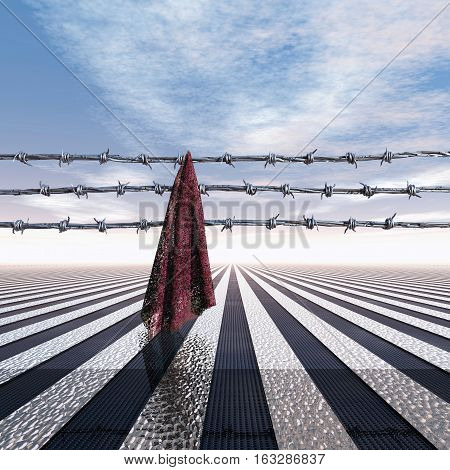 Closed frontier with barbed wire and cloth 3D Illustration