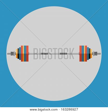 Barbell icon. Colorful barbell on a blue background. Sports Equipment. Vector Illustration