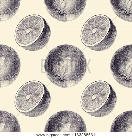 Seamless pattern with limes drawn by hand with pencil. Healthy vegan food. Fresh tasty fruits painted from nature. Tinted black and white