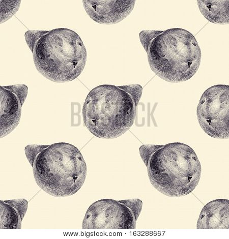 Seamless pattern with pears drawn by hand with pencil. Healthy vegan food. Fresh tasty fruits painted from nature. Tinted black and white
