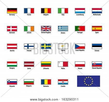 Vector highly detailed flags of The European Union