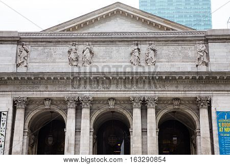 NEW YORK, USA - May 02, 2016: New York Public Library Main Branch in Midtown, Manhattan, NYC. With nearly 53 million items, New York Public Library is the second largest public library in the US