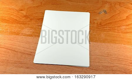 Close up white paper sheets and clips on wooden background. High resolution 3d render. Personal branding mockup template.