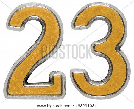 Metal Numeral 23, Twenty-three, Isolated On White Background