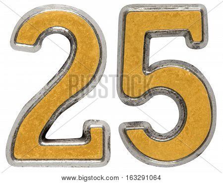 Metal Numeral 25, Twenty-five, Isolated On White Background