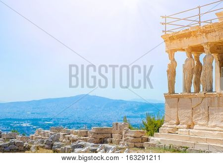 Famous Greek Athena Nike temple against clear blue sky Acropolis of Athens in Greece