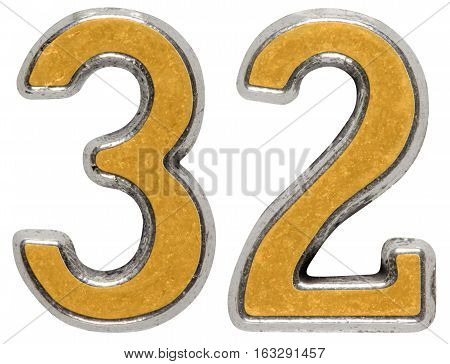 Metal Numeral 32, Thirty-two, Isolated On White Background