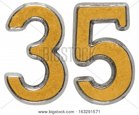 Metal Numeral 35, Thirty-five, Isolated On White Background