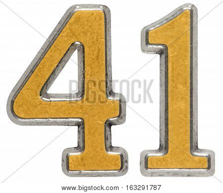 Metal Numeral 41, Forty-one, Isolated On White Background