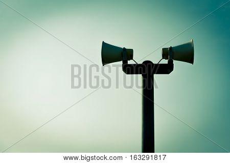 Horn speaker for public relations sign symbol, vintage tone color