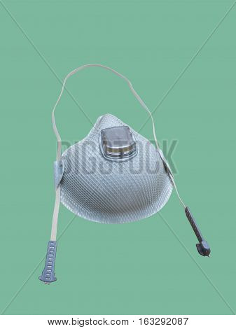 Industrial respirator with valve protects against dust isolated.