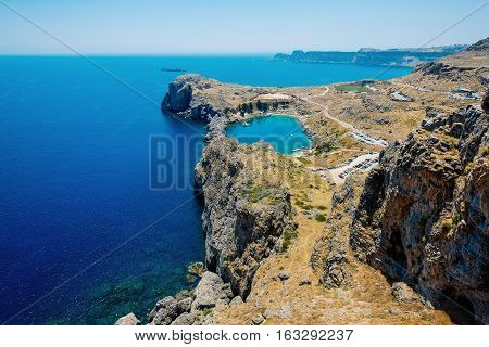 Panoramic bird eye aerial view at Saint Paul Bay at Lindos on the island of Rhodes Greece