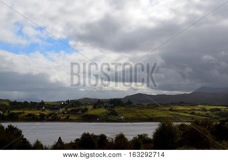 Thick clouds over Dunvegan Loch on the Isle of Skye
