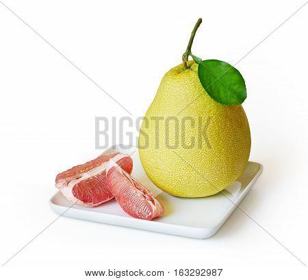 Fresh juicy pomelo fruit isolated on white background