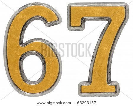 Metal Numeral 67, Sixty-seven, Isolated On White Background