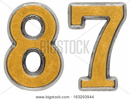 Metal numeral 87 eighty-seven isolated on white background