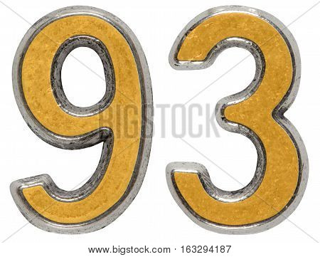 Metal numeral 93 ninety-three isolated on white background