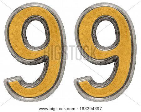 Metal numeral 99 ninety-nine isolated on white background