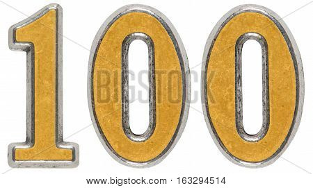 Metal numeral 100 one hundred isolated on white background
