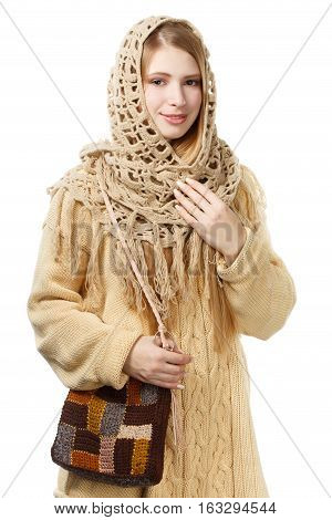 Young Smiling Stylish Woman In Openwork Shawl And Long Beige Sweater With Checkered Motley Knitted B