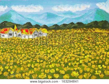 Hand painted illustration oil painting summer landscape - meadow with yellow dandelions with hills and houses.