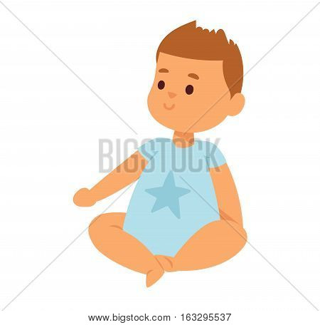 Adorable young happy baby smile face. Vector illustration handsome emotion and happy joy childhood. Small youth human character adorable person.