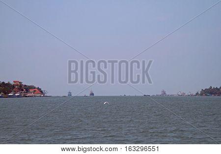 ships in sea port of Kochi India