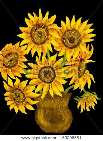 Hand painted illustration, oil painting, bouquet of sunflowers