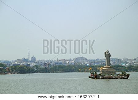 statue of the Gautam Buddha in the middle of the lake Hussain Sagar Hyderabad India