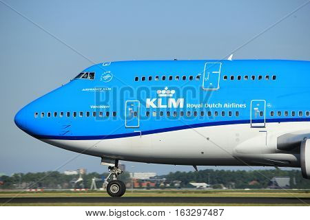 Amsterdam the Netherlands - August 18th 2016: PH-BFV KLM Royal Dutch Airlines Boeing 747-406(M) taking off from Polderbaan Runway Amsterdam Airport Schiphol