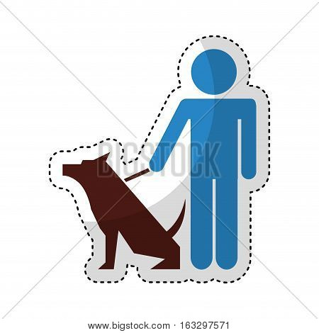 cute dog mascot with trainer isolated icon vector illustration design