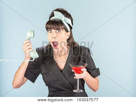 Close Up Of Shocked Retro Woman In Black Dress With Phone Receiver