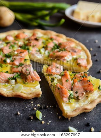 Quiche With Salmon, Cheese, Sour Cream, Green Onion And Parsley