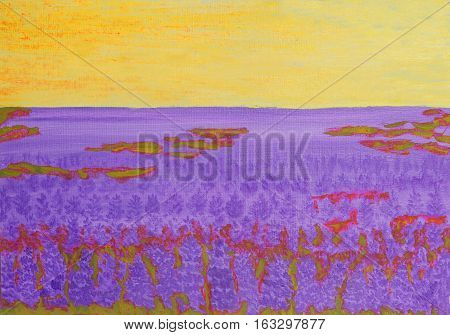 Oil painting, summer landscape with lupine meadow.