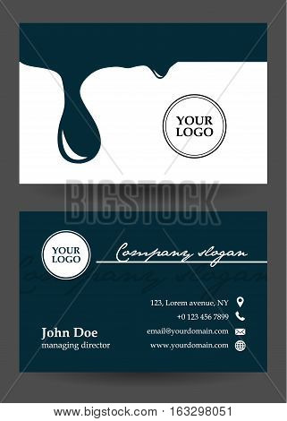 vector dark blue and white business card with drops