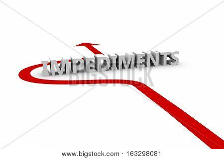 impediments the arrow shows how to circumvent difficulties 3d illustration