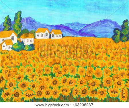 Hand painted picture, acrylic, summer landscape field with sunflowers.