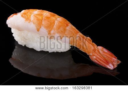 Sushi nigiri with shrimp on black background with reflection. Japanese cuisine.